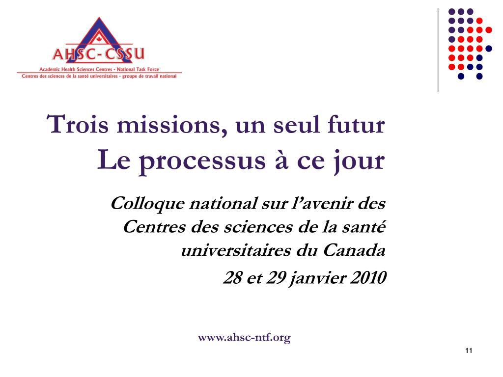 Trois missions, un seul futur