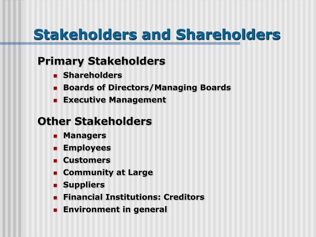 shareholder and stakeholder