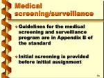 medical screening surveillance