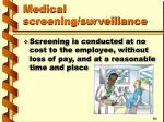 medical screening surveillance35