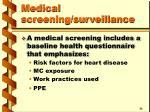 medical screening surveillance42