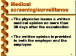 medical screening surveillance43