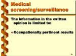 medical screening surveillance44