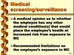 medical screening surveillance46