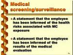 medical screening surveillance47