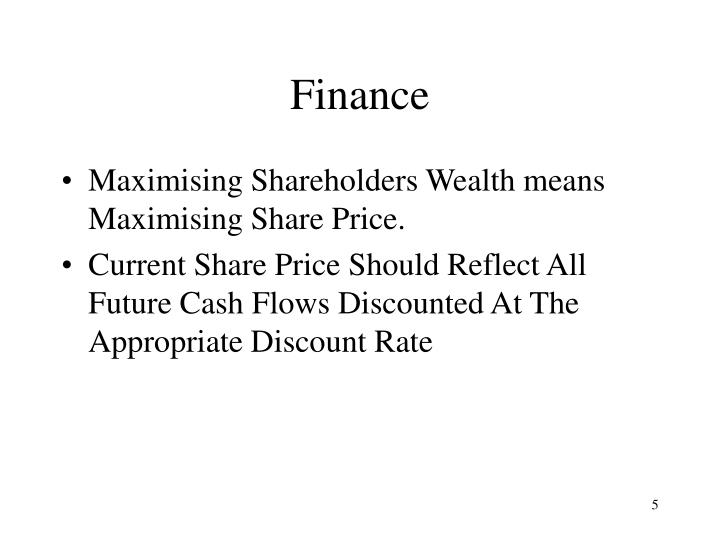 maximization of shareholders wealth Learn about shareholder wealth maximization and how maximizing the value of the stock price should be the goal of businesses in capitalist societies.