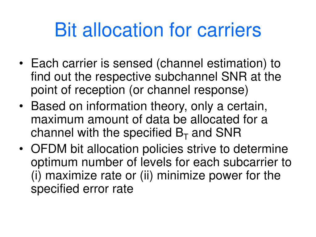 Bit allocation for carriers