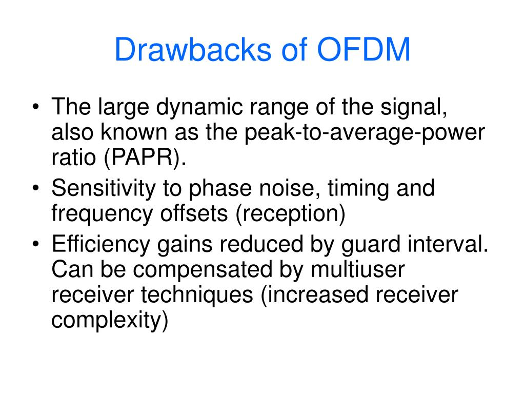 Drawbacks of OFDM