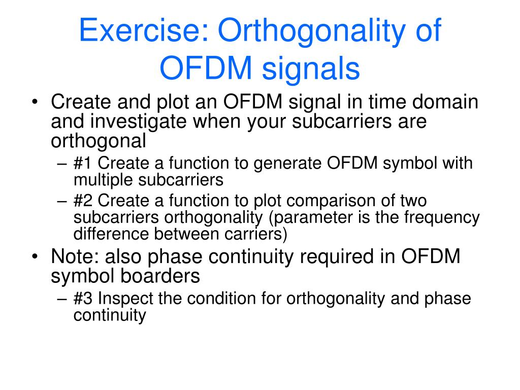 Exercise: Orthogonality of OFDM signals