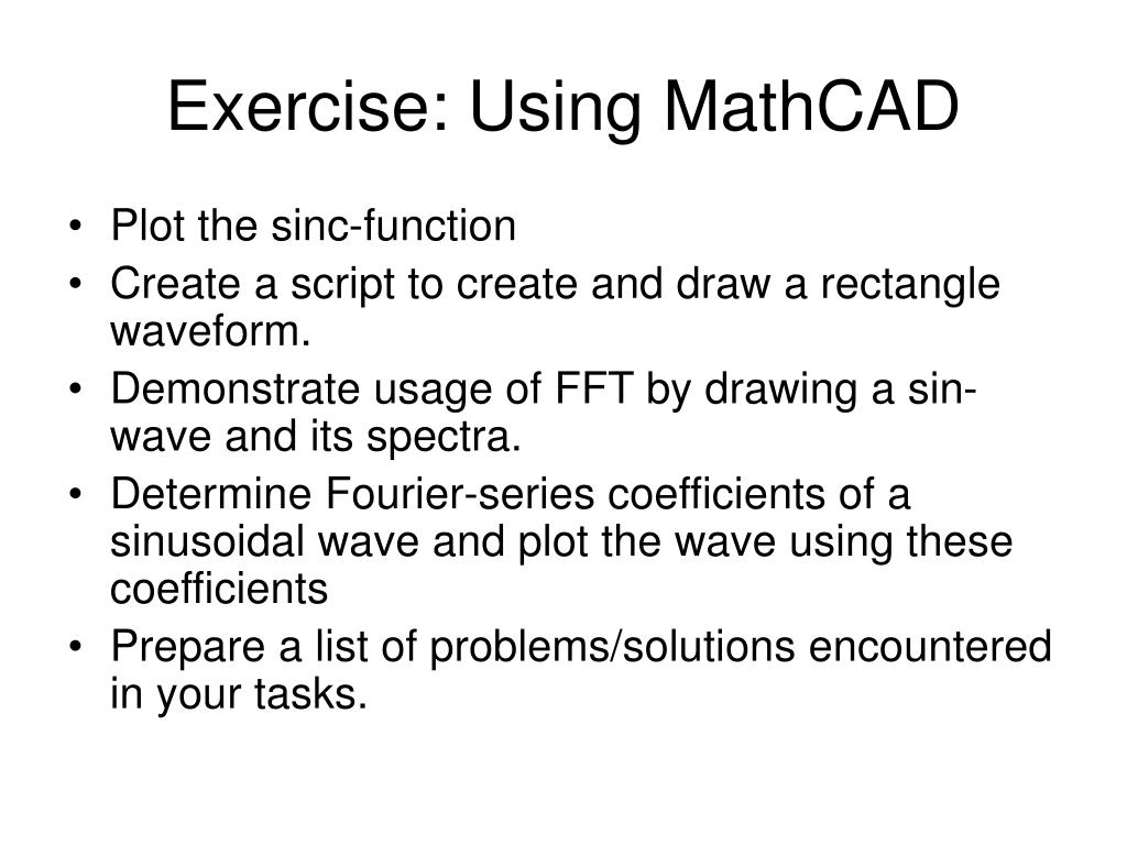 Exercise: Using MathCAD