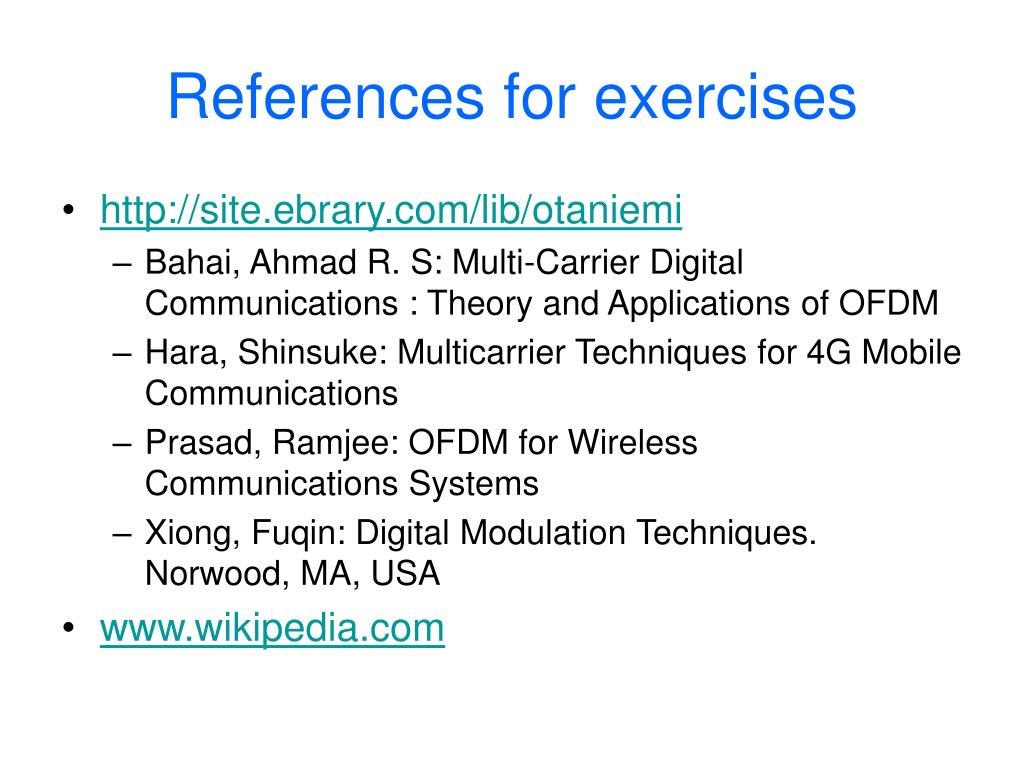 References for exercises