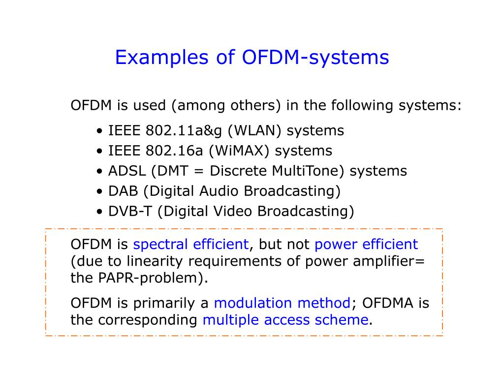 Examples of OFDM-systems
