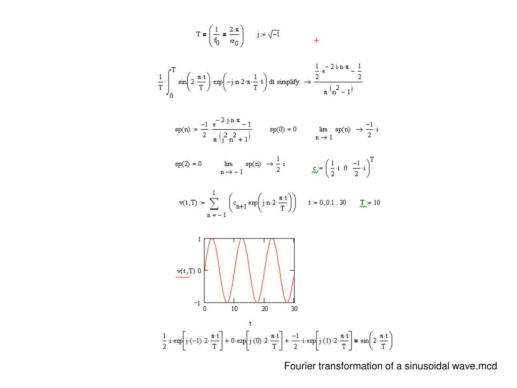 Fourier transformation of a sinusoidal wave.mcd