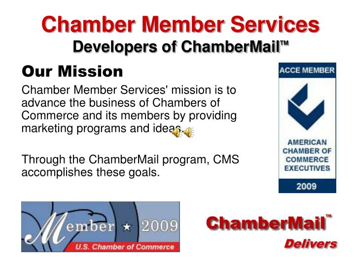 Chamber member services developers of chambermail tm