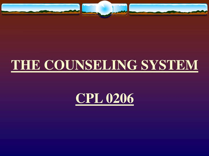 the counseling system cpl 0206 n.