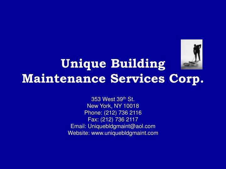 unique building maintenance services corp n.