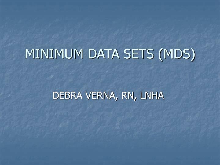minimum data sets mds n.