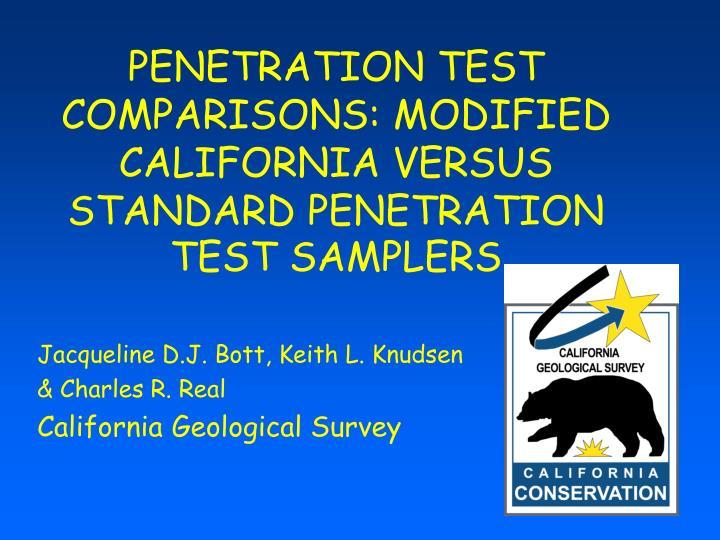 penetration test comparisons modified california versus standard penetration test samplers n.