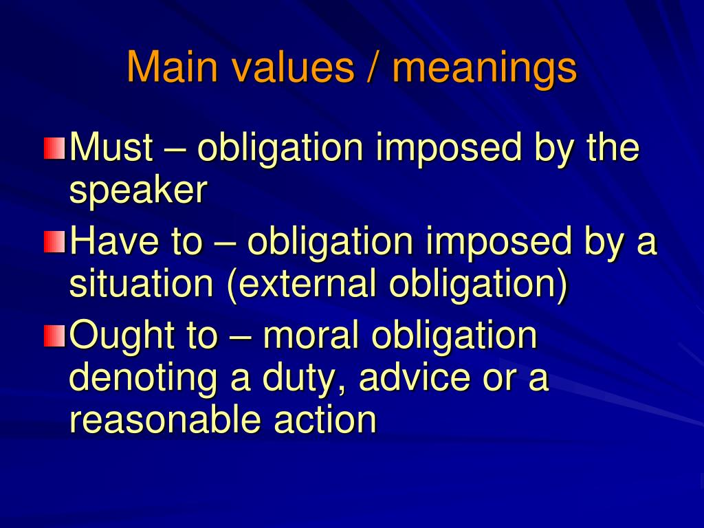 Main values / meanings