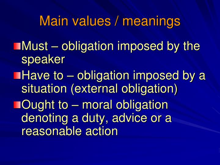 Main values meanings