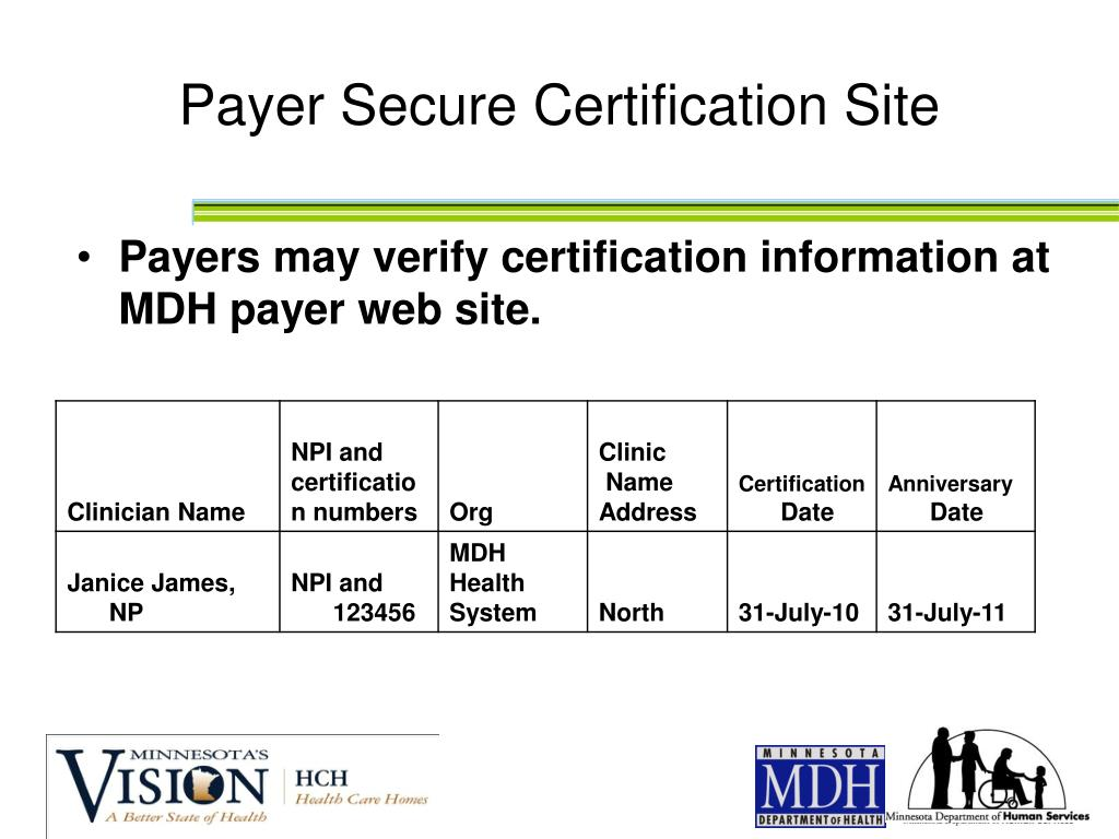 Payer Secure Certification Site