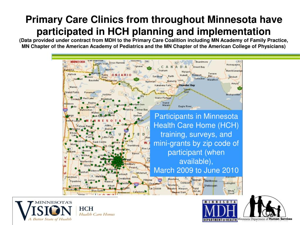 Primary Care Clinics from throughout Minnesota have participated in HCH planning and implementation
