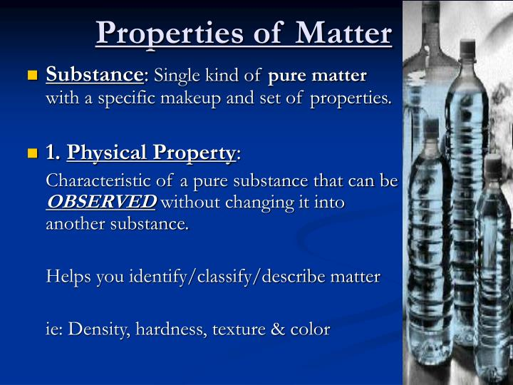 resolution of matter into pure substances Definition of pure substances a pure substance or chemical substance is a material that has constant composition (is homogeneous) and has consistent properties throughout the sample a pure substance is considered to be a material that consists of one type of building block of matter.