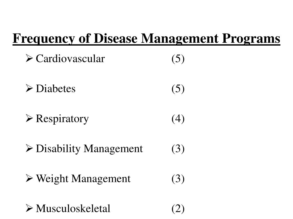 Frequency of Disease Management Programs