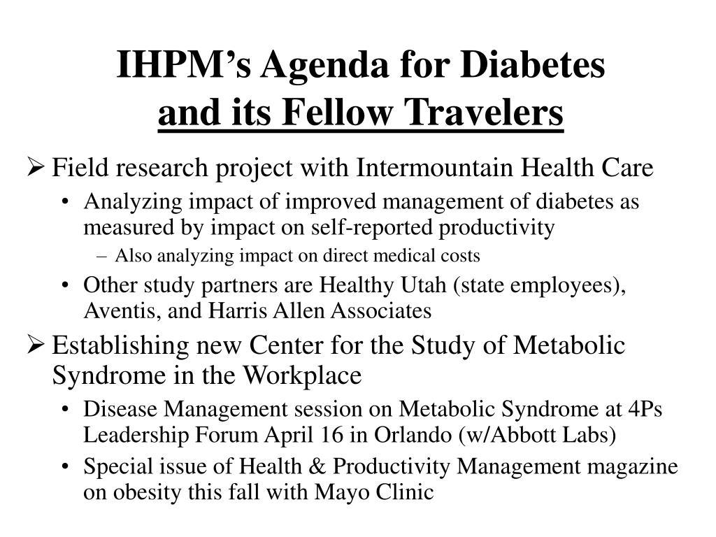 IHPM's Agenda for Diabetes