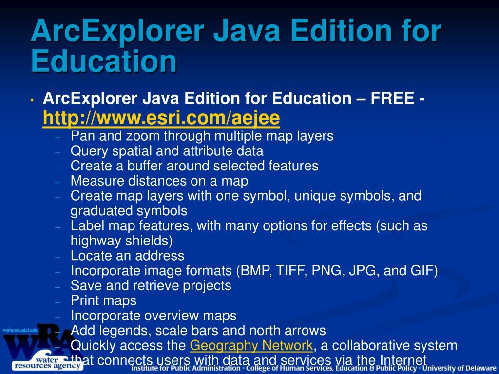 ArcExplorer Java Edition for Education