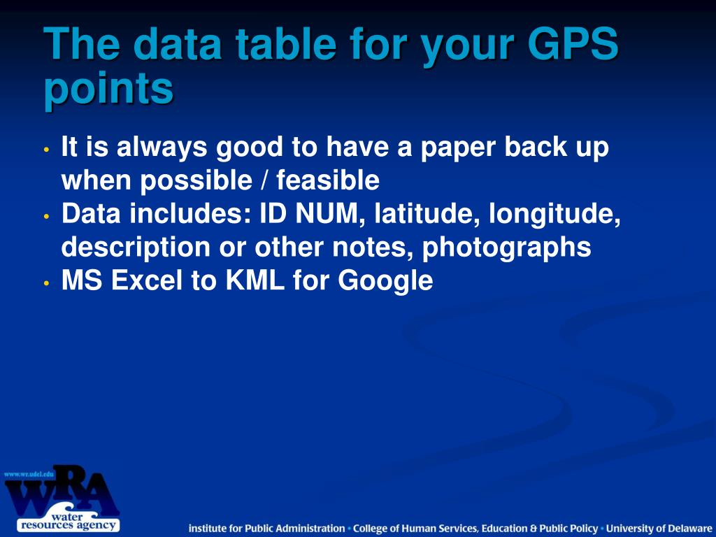 The data table for your GPS points