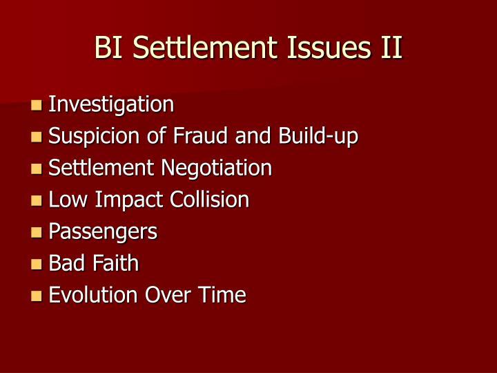 Bi settlement issues ii