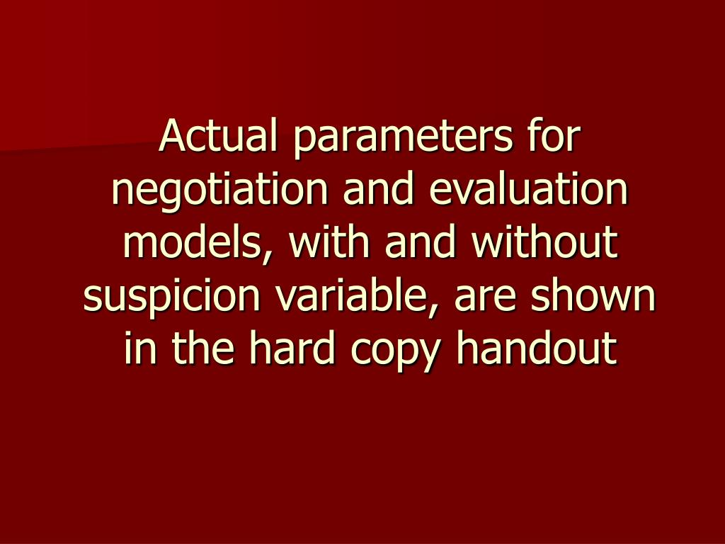 Actual parameters for negotiation and evaluation models, with and without suspicion variable, are shown in the hard copy handout