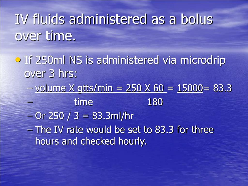 IV fluids administered as a bolus over time.