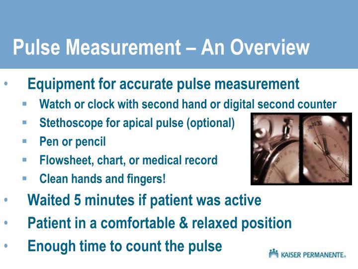 Pulse measurement an overview