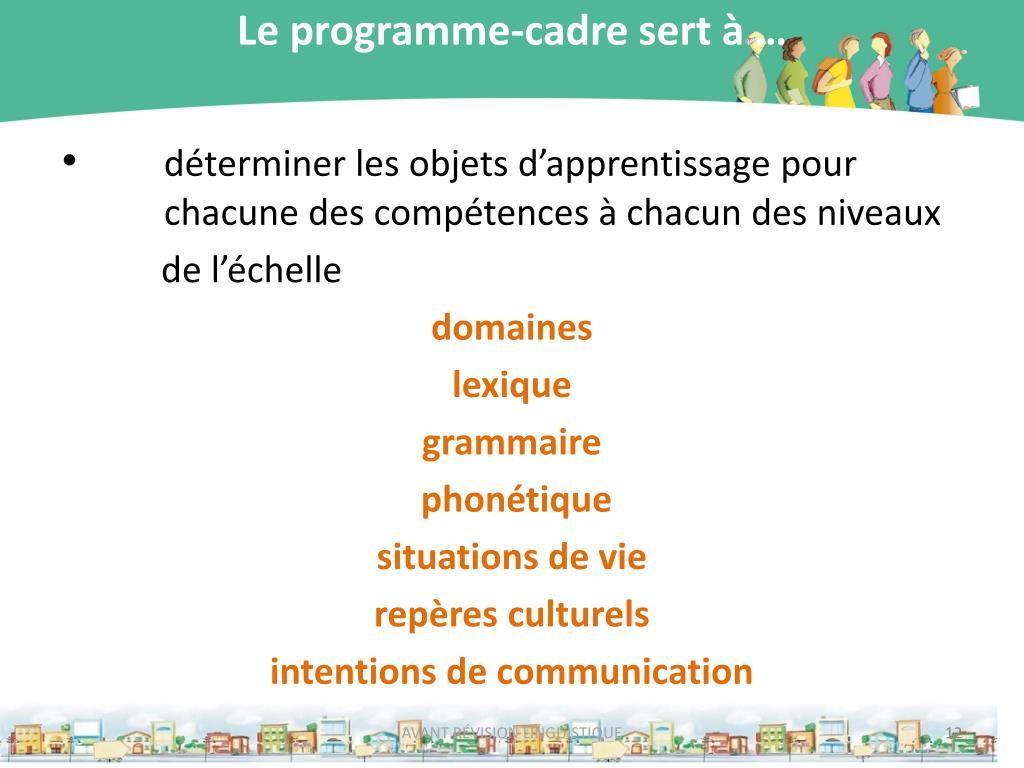 Le programme-cadre sert à …
