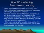 how pd is affecting preschoolers learning