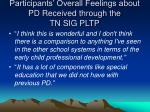 participants overall feelings about pd received through the tn sig pltp