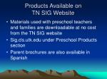 products available on tn sig website