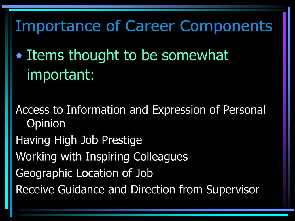 Importance of Career Components