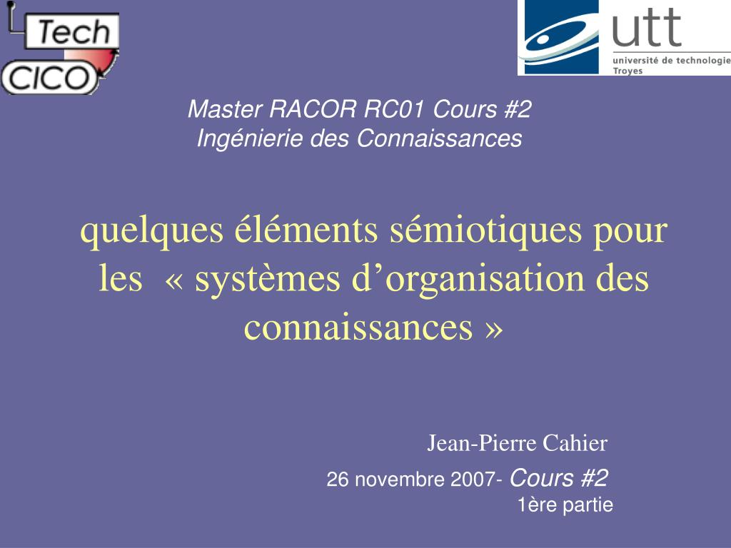 Master RACOR RC01 Cours #2