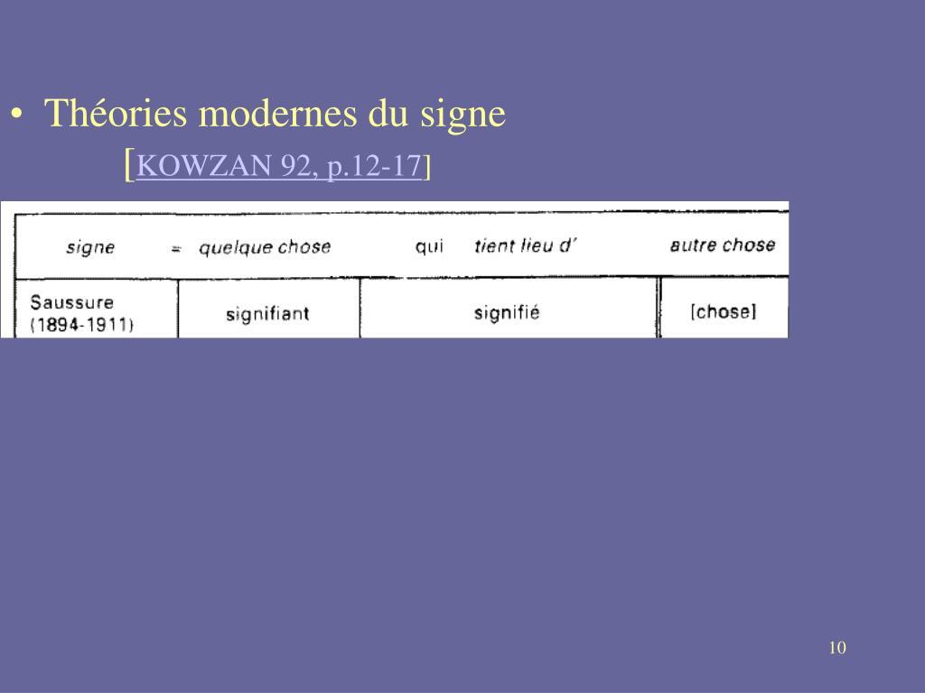 Théories modernes du signe