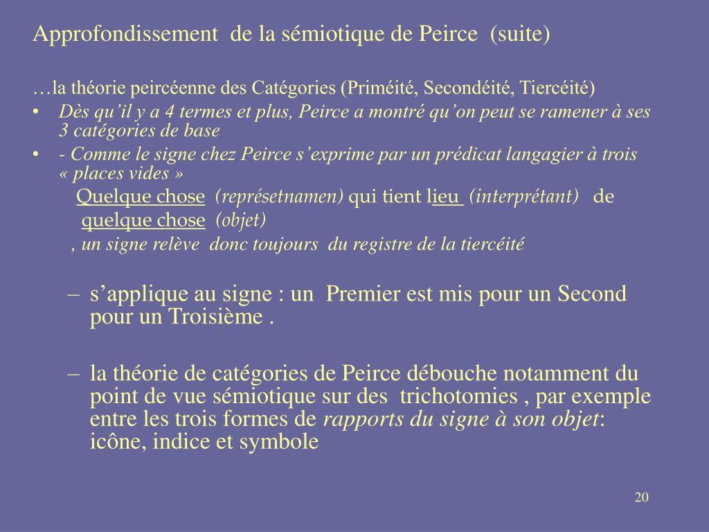 Approfondissement  de la sémiotique de Peirce (suite)