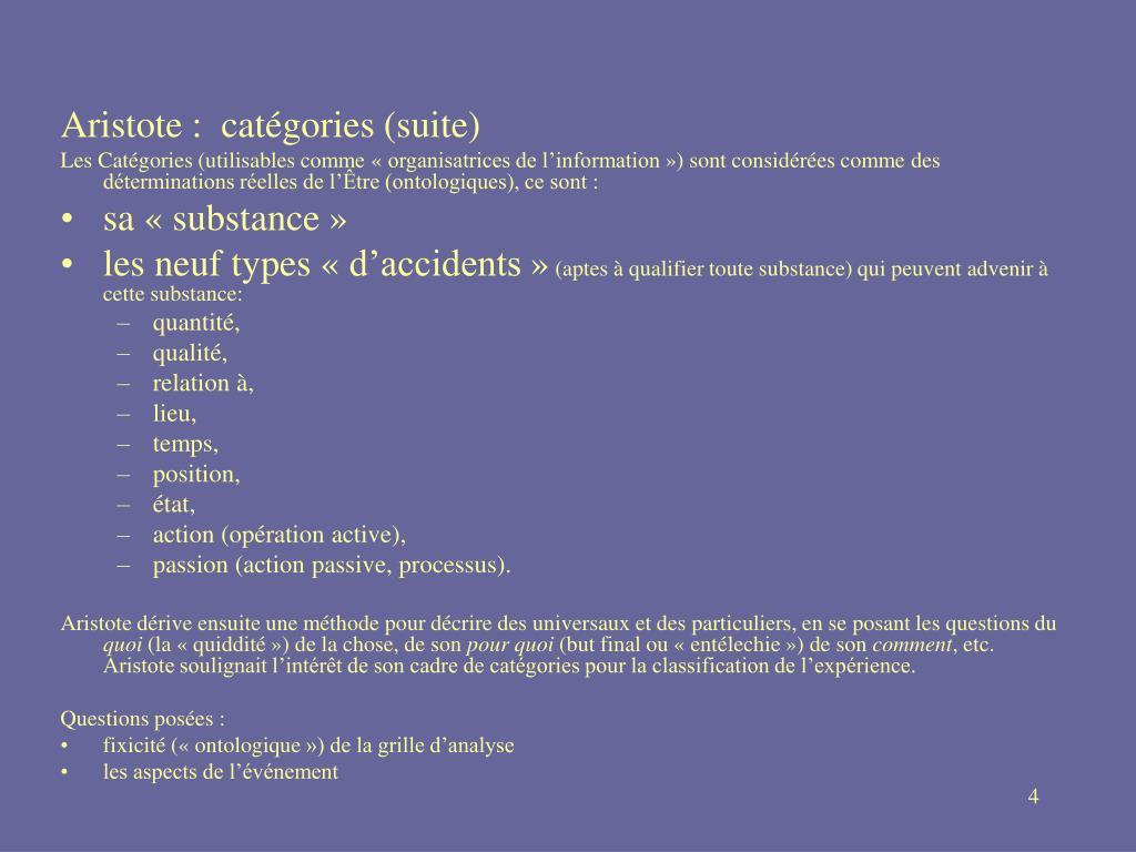 Aristote:  catégories (suite)
