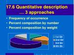 17 6 quantitative description 3 approaches