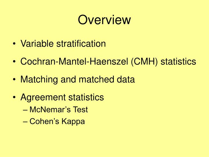 Ppt Categorical Data Analysis Stratified Analyses Matching And