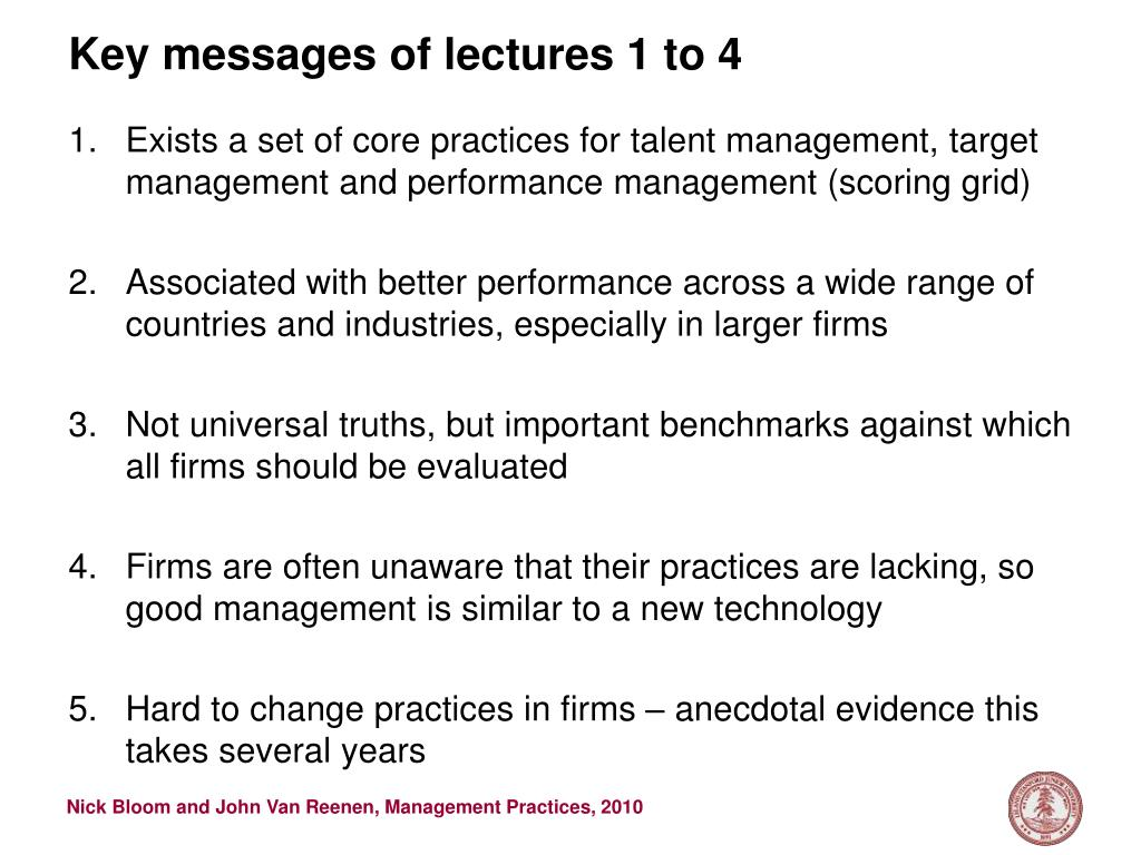 key messages of lectures 1 to 4 l.