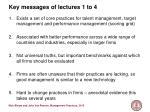 key messages of lectures 1 to 4
