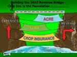 building the 2010 revenue bridge crop ins is the foundation slide courtesy of steve johnson iasu