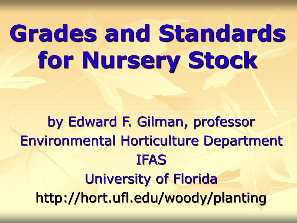 grades and standards for nursery stock l.